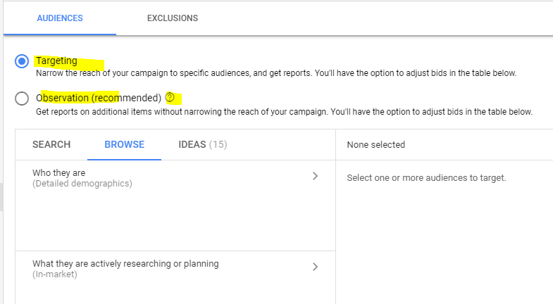 Campaign configuration using Google custom audience and customer match