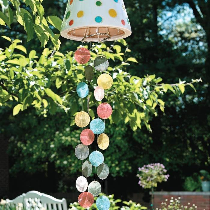 Colorful glass shells wind chimes