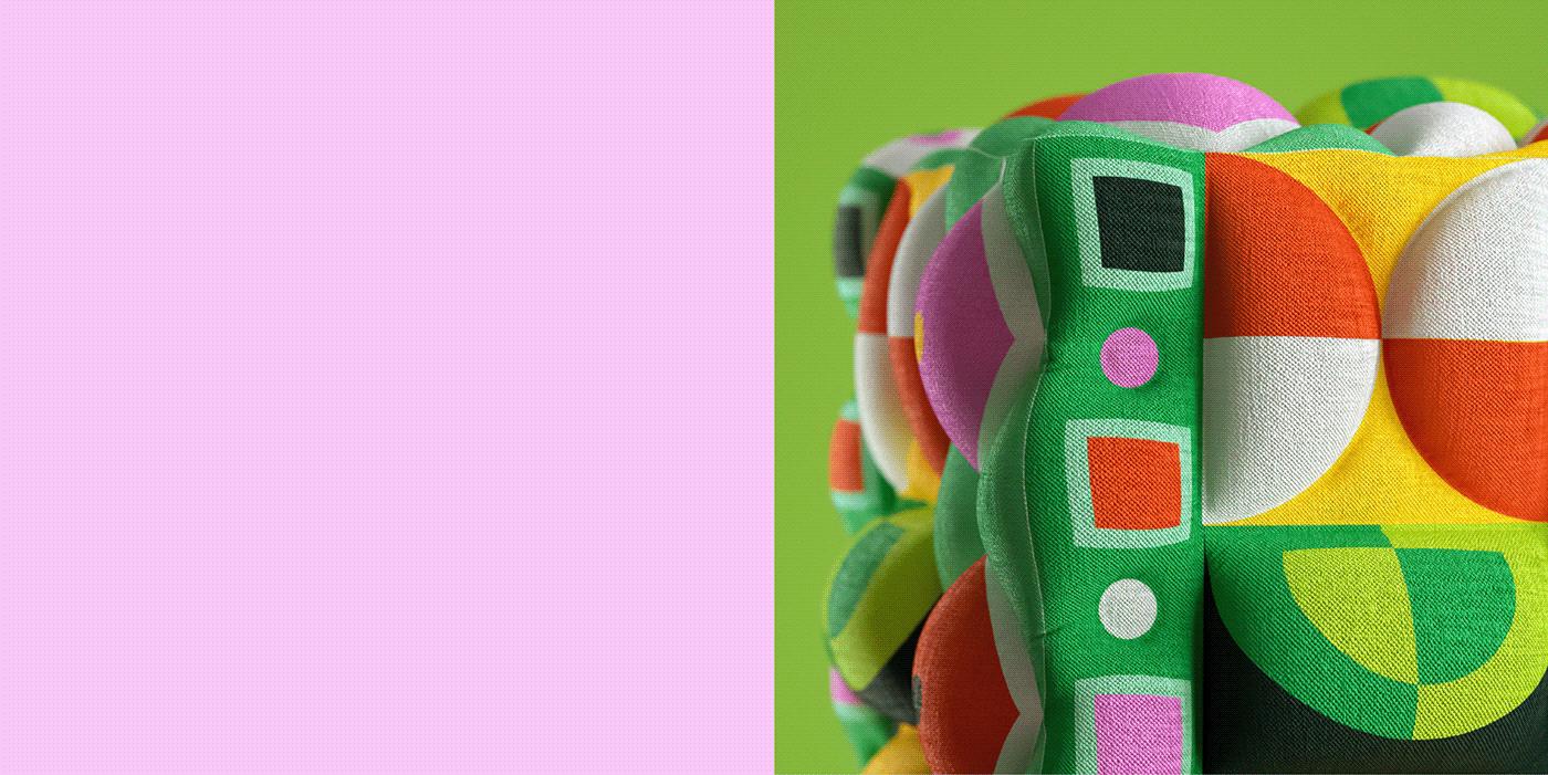 3D abstract CGI fabric Fashion  geometric pattern Render simulation textile design