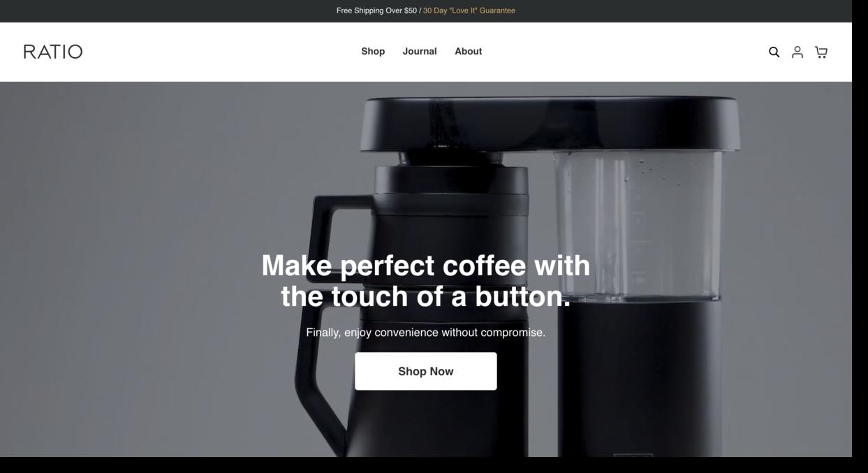 Ratio website screenshot coffee machine company Ecommerce Website Designs