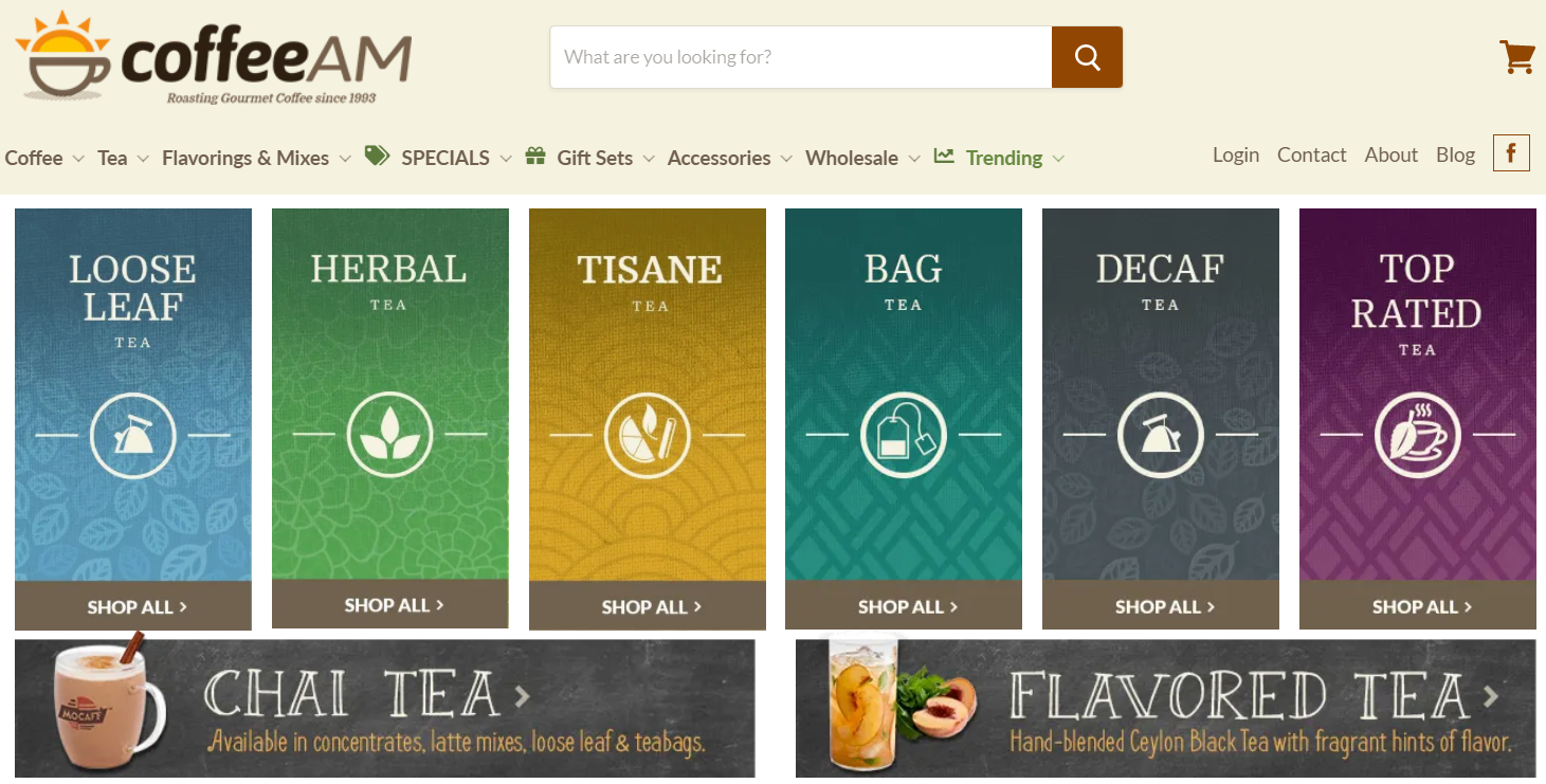 An example of Shopify coffee store that sells coffee and tea online
