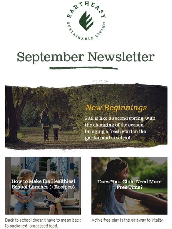 This newsletter focuses on the start of the school year, but makes use of its typical clean look and minimal but curated format