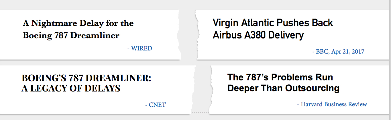 Montage of media headlines talking about the production delays of Boeing and Airbus airliners due to communication problems.