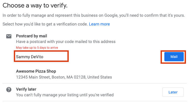 google my business for restaurants verification
