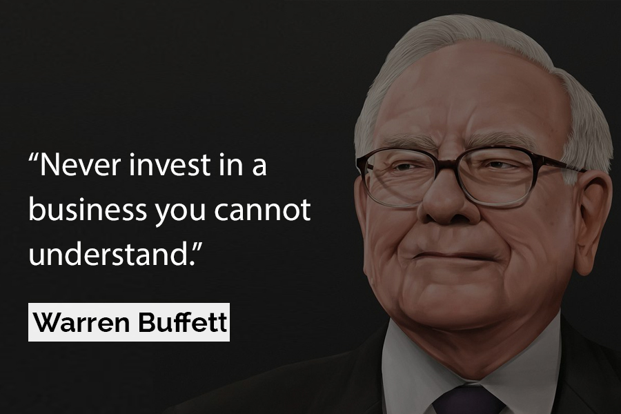 "Citação de Warren Buffett: ""Never invest in a business you cannot understand."""