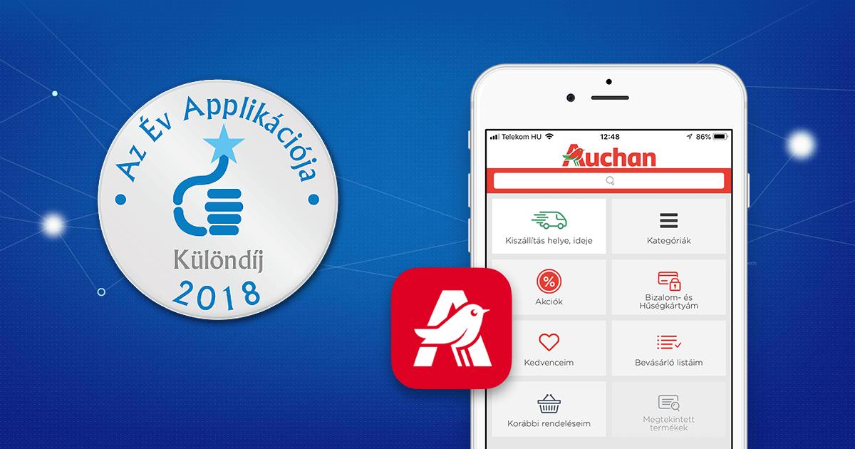 """Az Auchan shop applikációja elnyerte Az Év Applikációja Különdíját """"Az Év Honlapja"""" versenyén"""