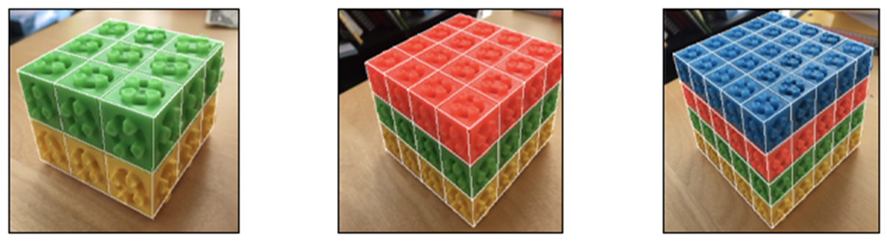 3 rectangular prisms. First, a 3 by 3 by 2 prism. The bottom level is yellow. The top level is green. Next, a 4 by 4 by 3 prism. The bottom level is yellow, the middle is green, and the top is orange. Last, a 5 by 5 by 4 prism. From the bottom, the level colors go yellow, then green, then orange, then blue.
