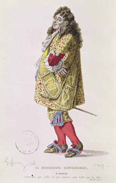 Image - 'Follow me, that I might a little show my dress about the town', illustration of Monsieur Jourdain from Act III Scene 1 of 'The Bourgeois Gentleman' by Moliere (1622-73) engraved by Ludwig Wolff (1776-1832) (coloured engraving), Geffroy, Edmond A.F. (1804-95) (after) / French, © Bridgeman Images