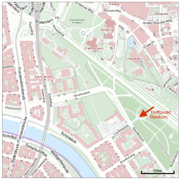 Wir treffen uns 10 Minuten vor Kursstart im Prater bei der Laufbergergasse/Ecke Sportklubstraße. Vom Praterstern (erreichbar mit U-Bahn U1, U2; S-Bahn S1, S2, S3, S7) ist der Kurstreffpunkt in 5min zu Fuß erreichbar. Treffpunkt siehe roter Pfeil auf der Karte!