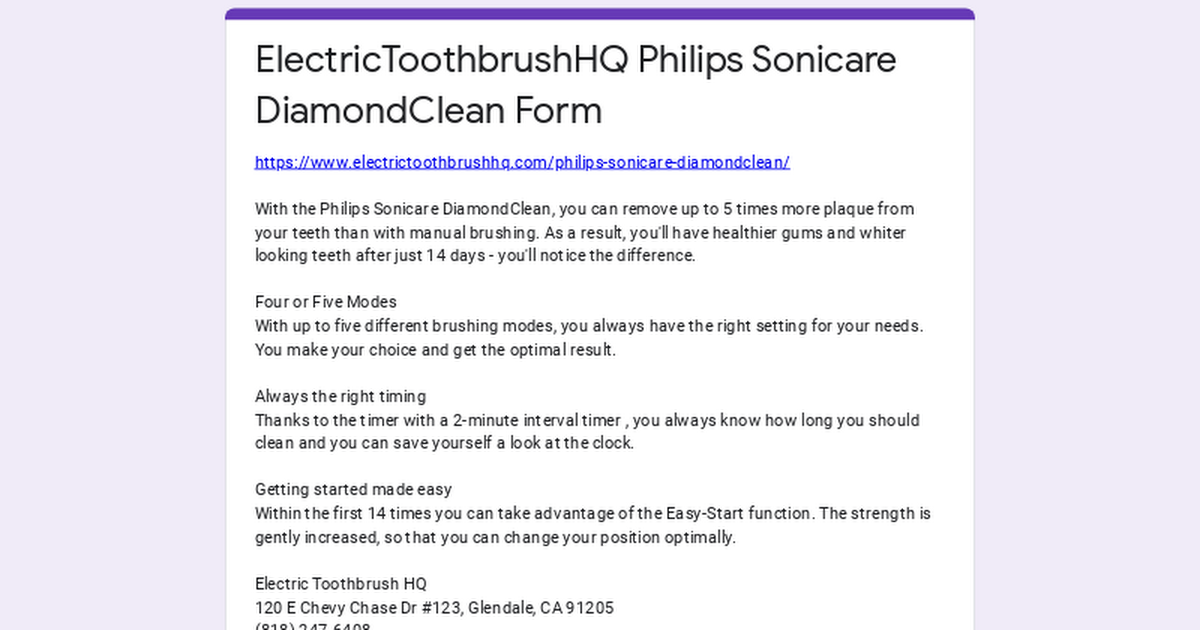 ElectricToothbrushHQ Philips Sonicare DiamondClean Form