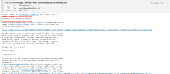 email enviado pela equipe do gmail com código de confirmação