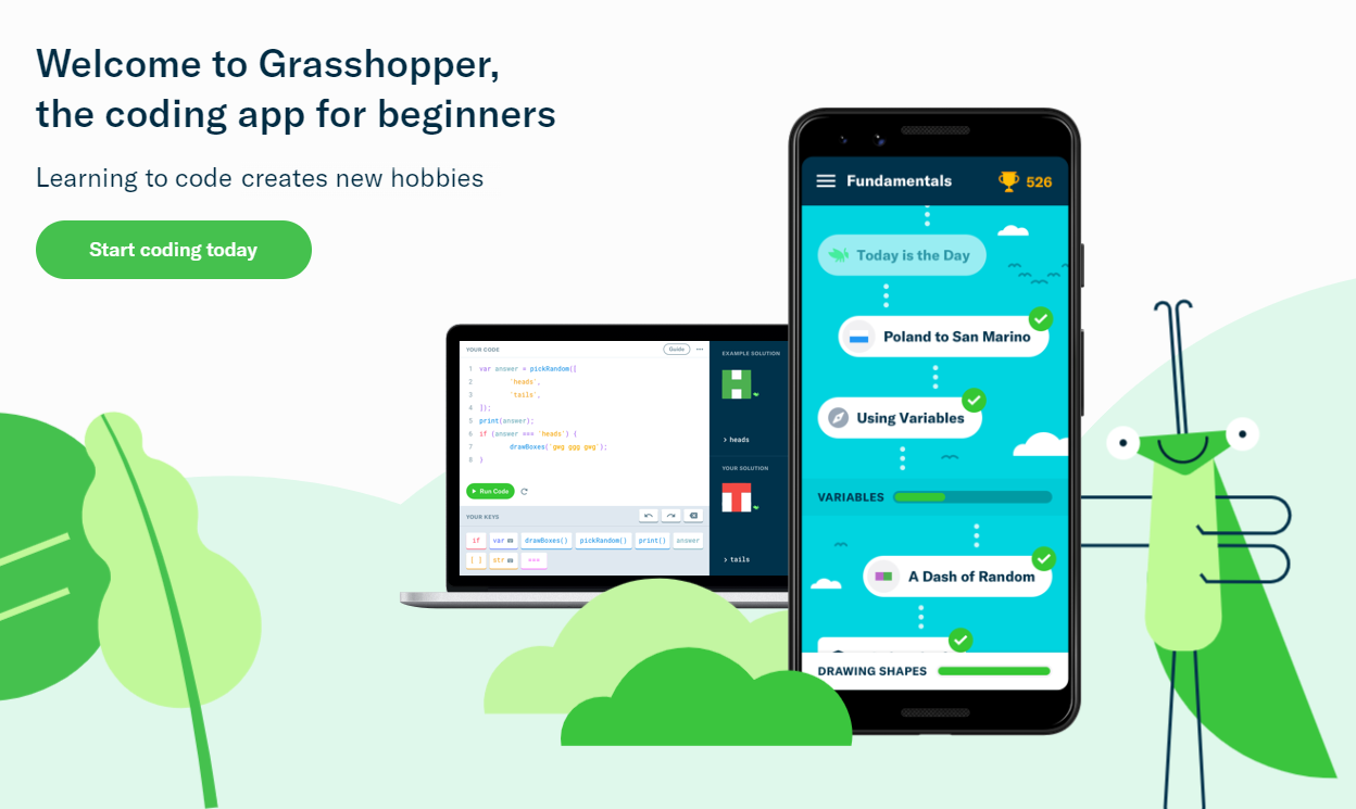 The Grasshopper homepage.