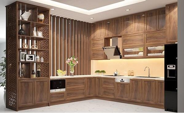 thi công tủ bếp gỗ tự nhiên 2