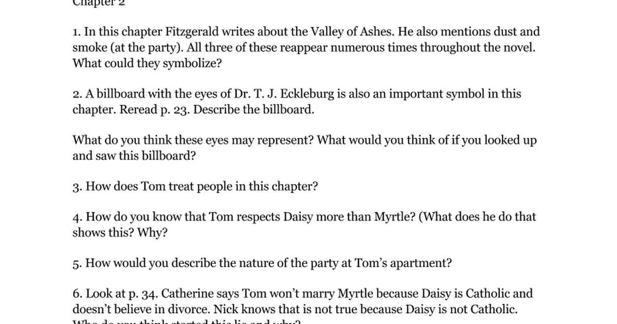 Copy Of Great Gatsby Discussion Questions Chapter By Chapter