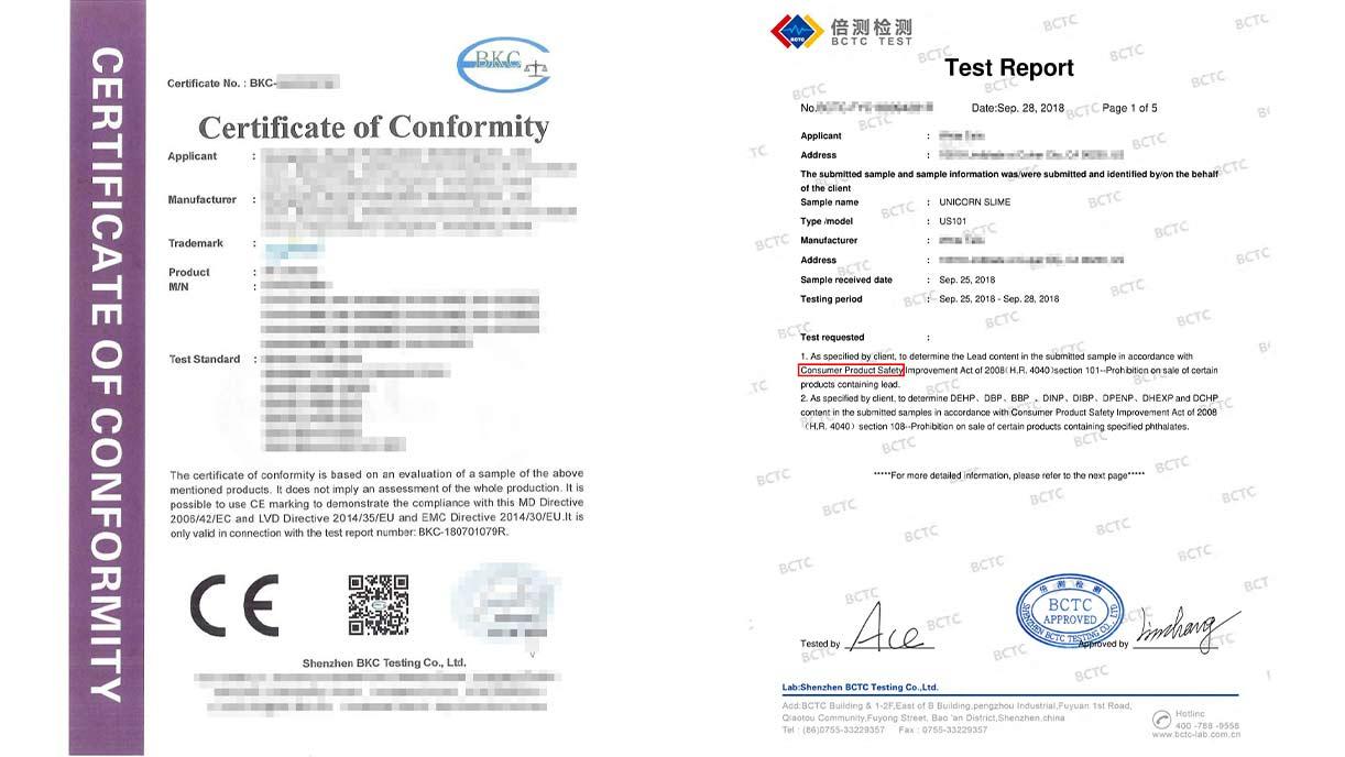 Образцы сертификатов CE и CPSC