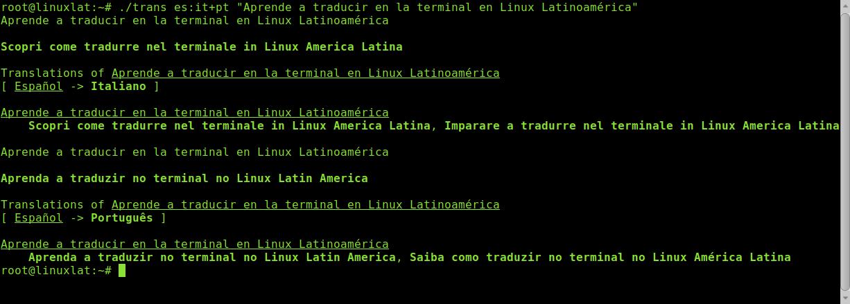 traducir página web desde consola