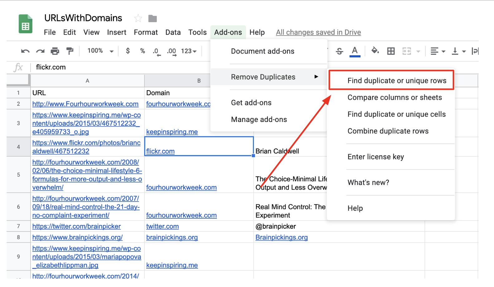 google sheets add-ons menu