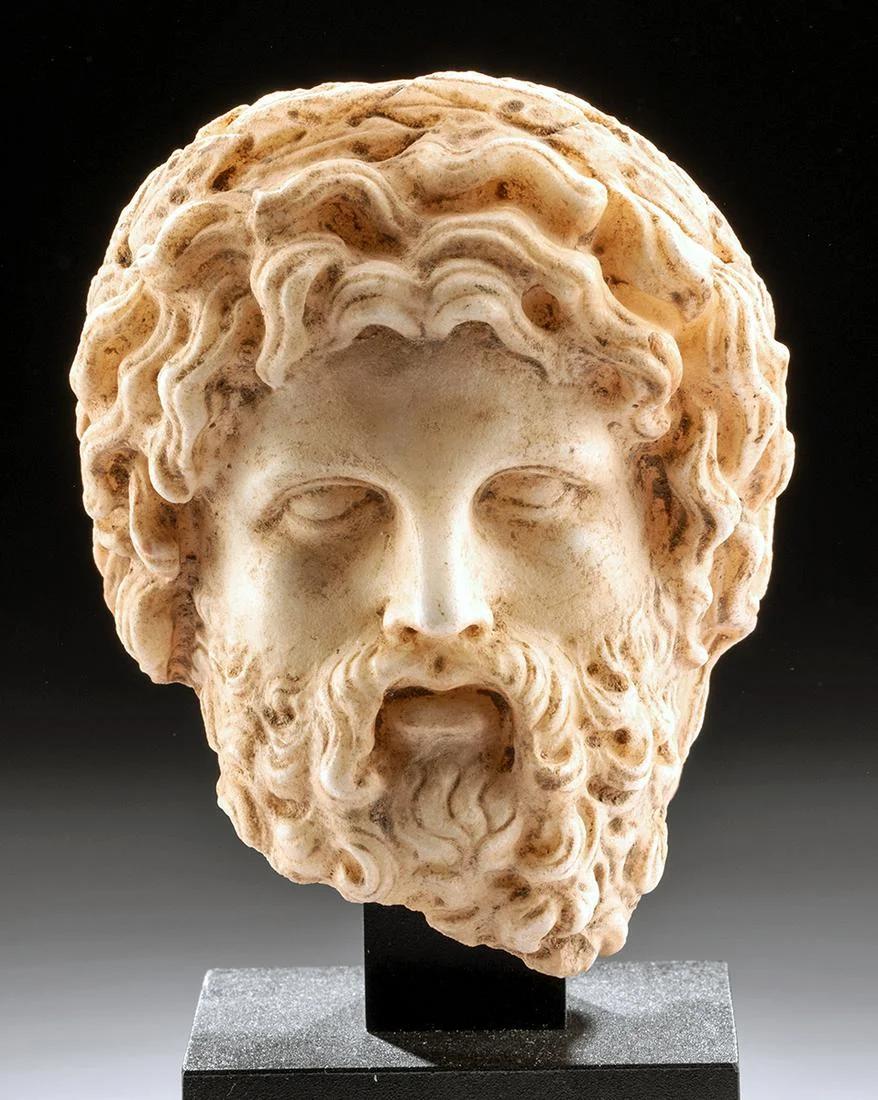 Fine Greek Hellenistic marble head of a bearded man