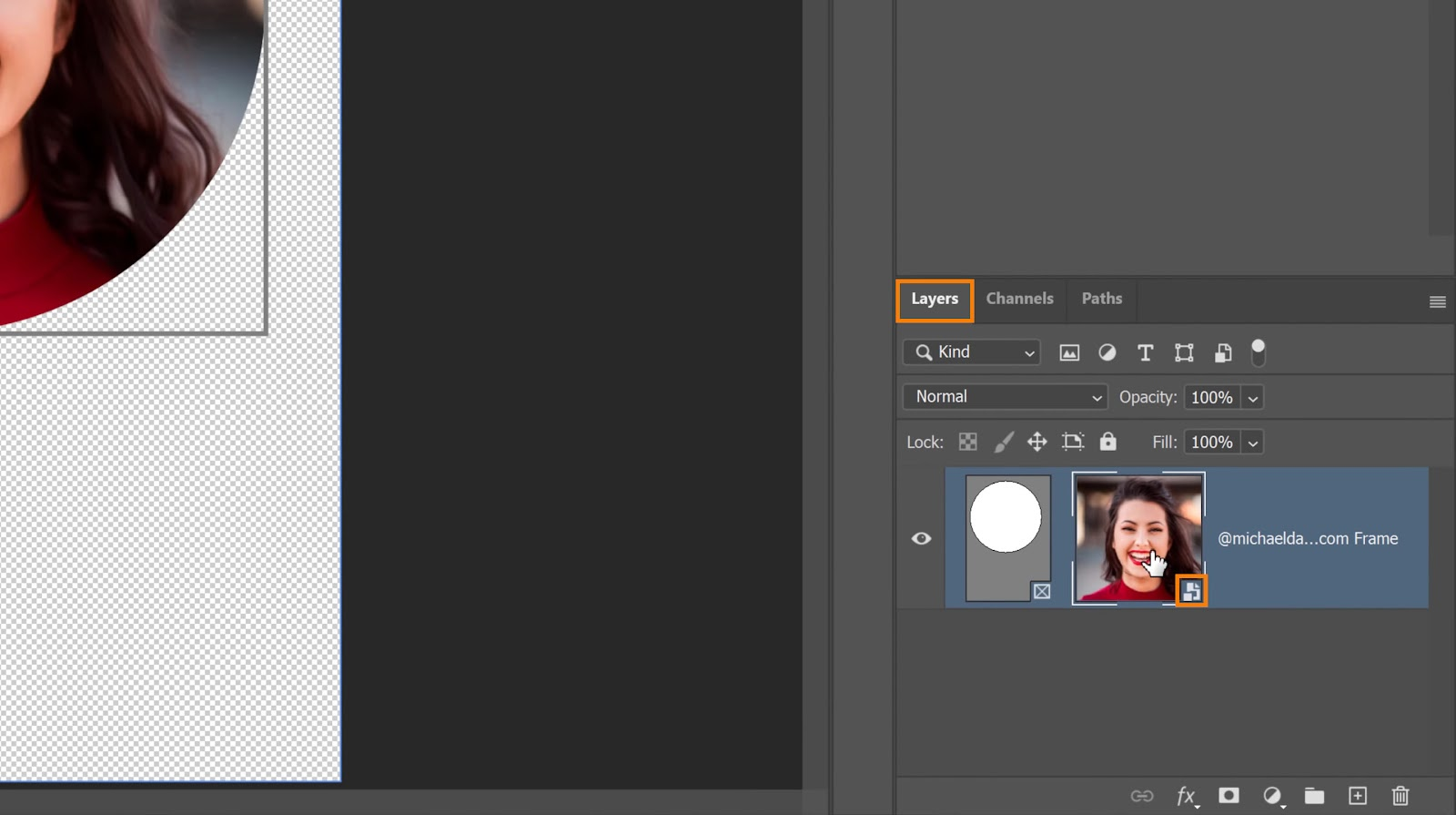 Go to the Layers panel - Crop in a Circle