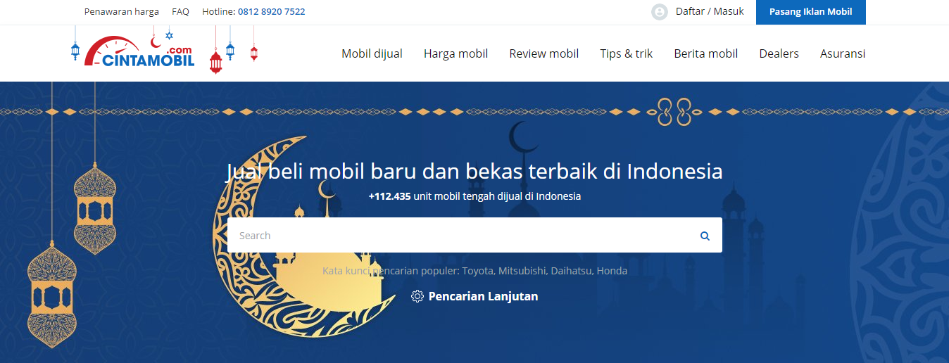 Cintamobil.com web interface