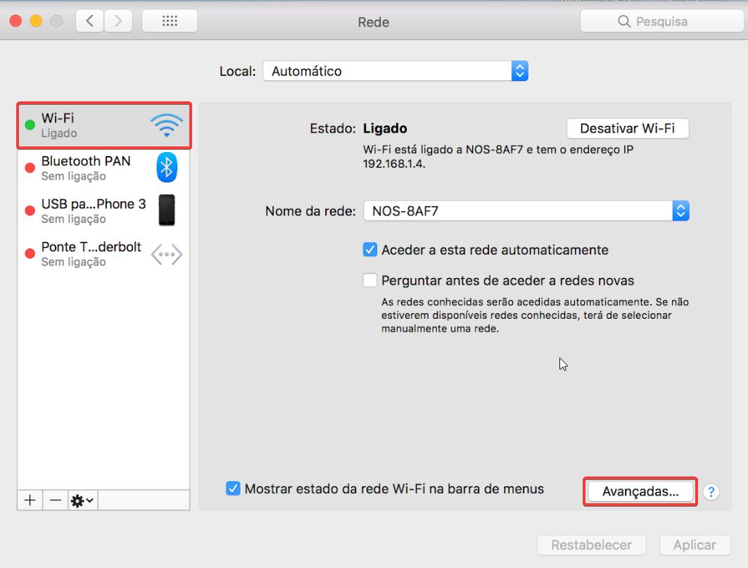 Mac OS Preferências do Sistema > Rede > Wi-Fi