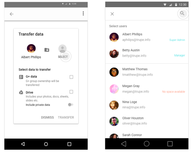 Data transfer in the Google Admin app for Android