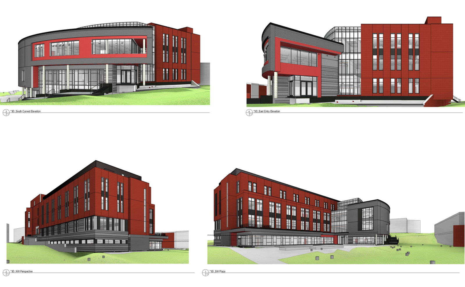 Visualizations of the Frostburg University Education & Health Science Center project created (in other 3D software) by project architects, Ayers Saint Gross