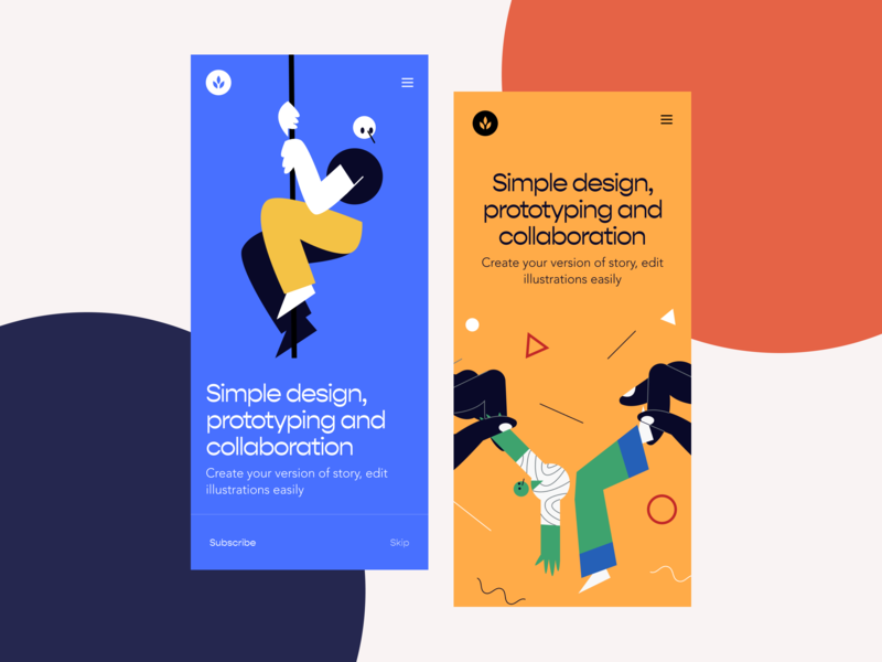Oliver Illustration onboarding app contrast illustration ui ux ui design hero walkthrough freebie craftwork clean