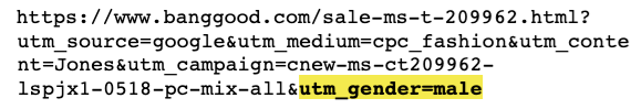 Example Banggood ad clickthrough URL, with UTM query string parameters showing the intended audience is inferred to be male.