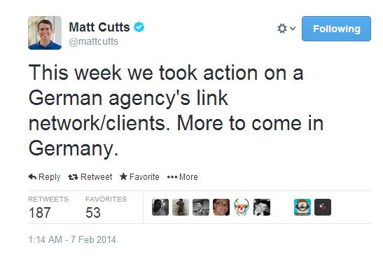 Matt Cutts oznámil penalizaci německé SEO agentury a jejích klientů