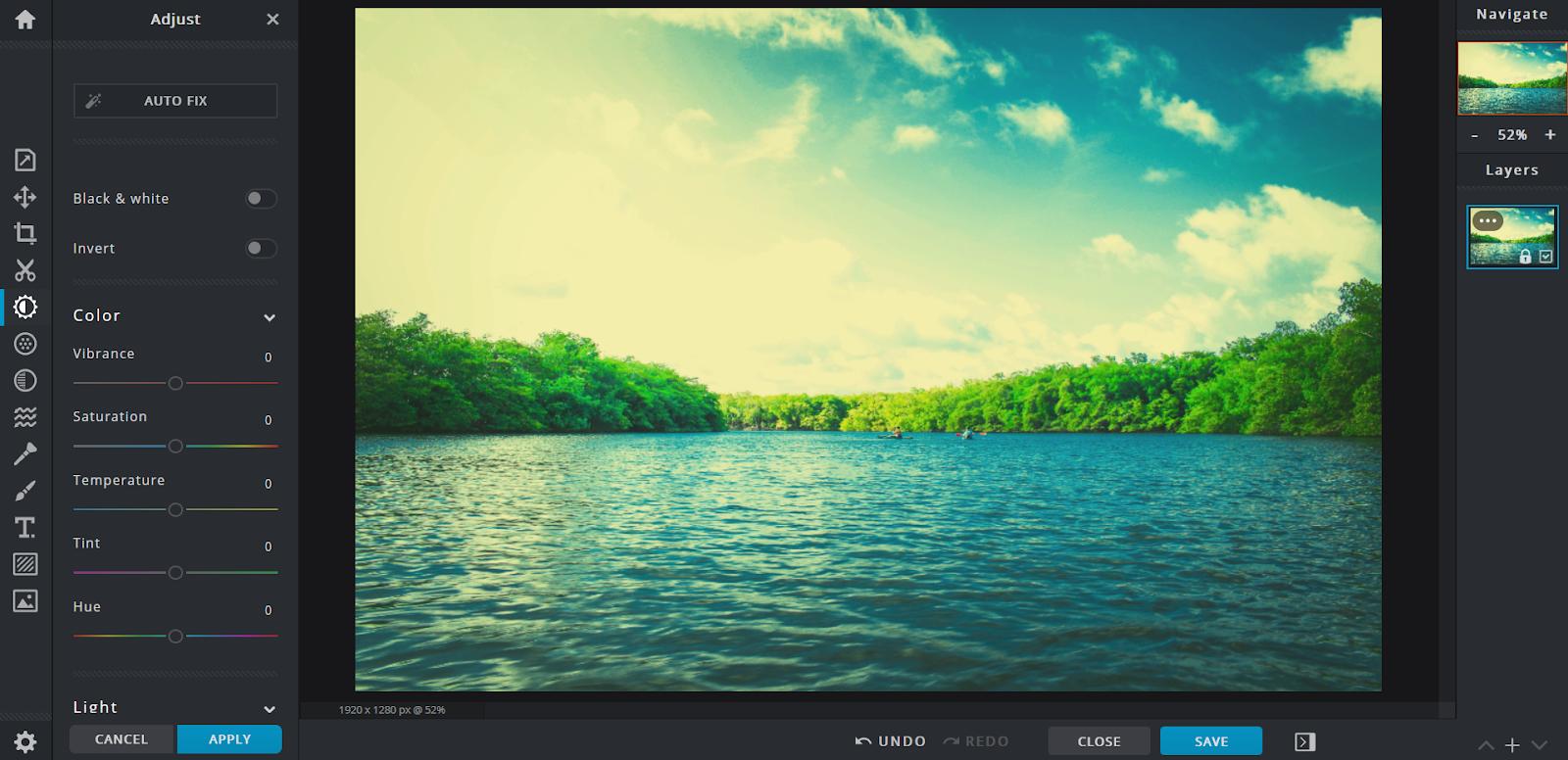 pixlr home screen