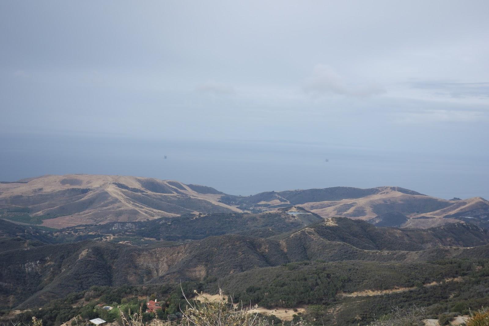 Cycling Refugio Bike Climb - W. Camino Cielo - views from ridge on Camino Cielo - Pacific Ocean