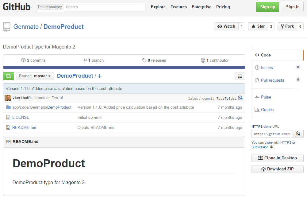 Genmato DemoProduct Magento 2 Module