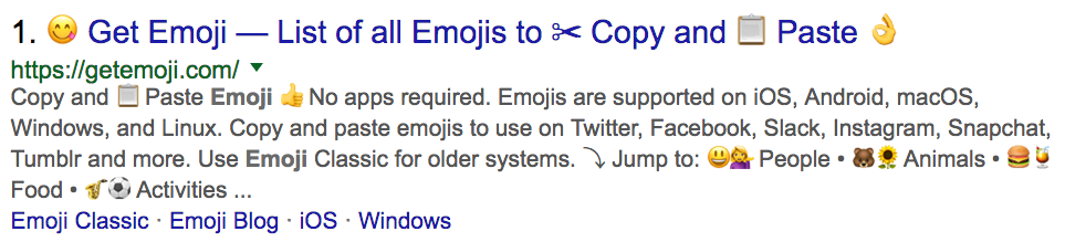 example of emojis in seo title