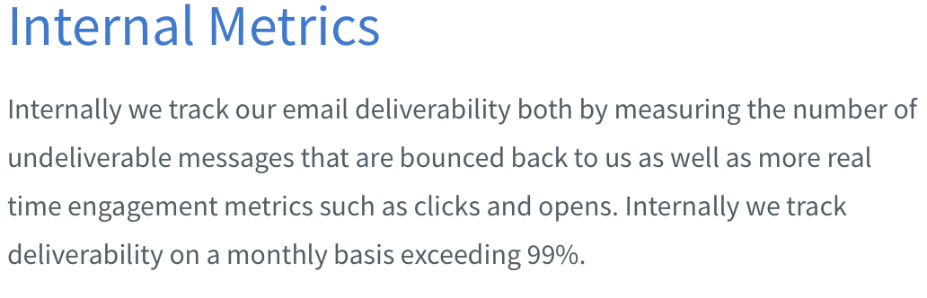 Aweber internal deliverability metrics