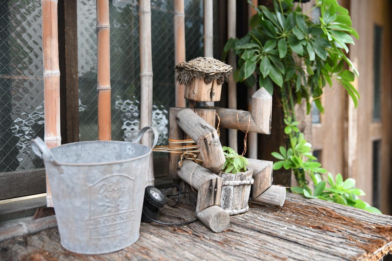 テーブル, 植物, 座っている, 屋外 が含まれている画像  自動的に生成された説明