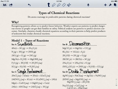 Recognizing types of chemical reactions homework