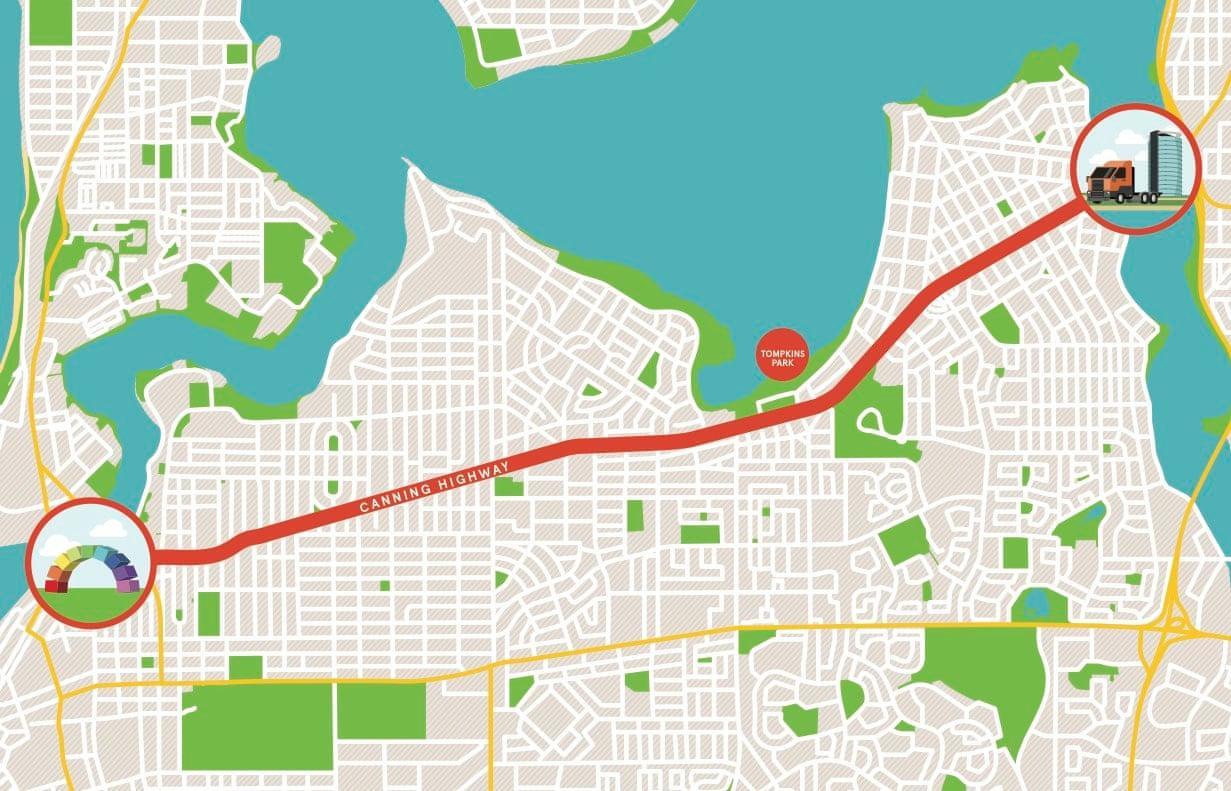 χάρτης που δείχνει τη διαδρομή της γιορτής στην Αυστραλία