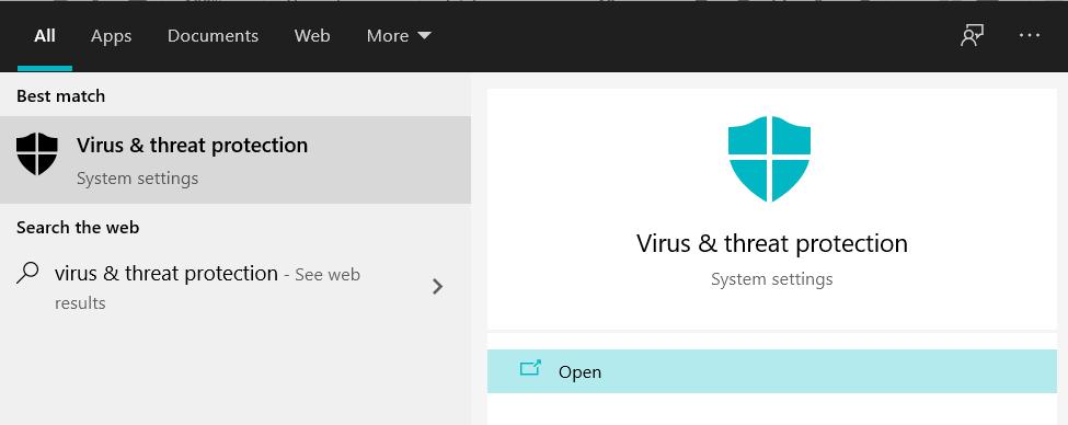 Virus & Protection threat
