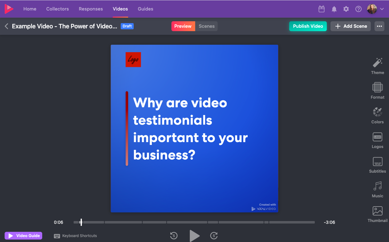 """Example remote video testimonials in Vocal Video: """"Why are video testimonials important to your business?"""""""