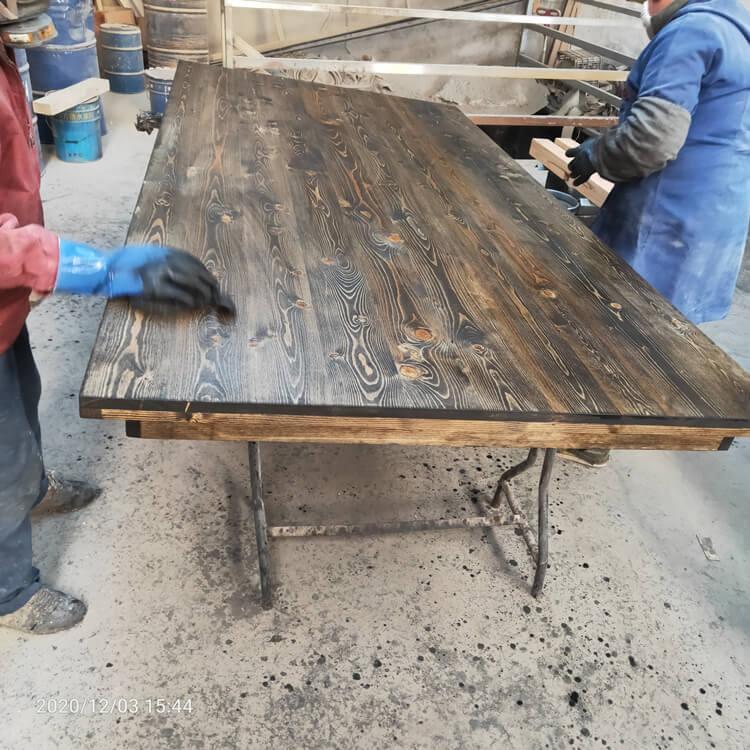 lack and wood farmhouse table