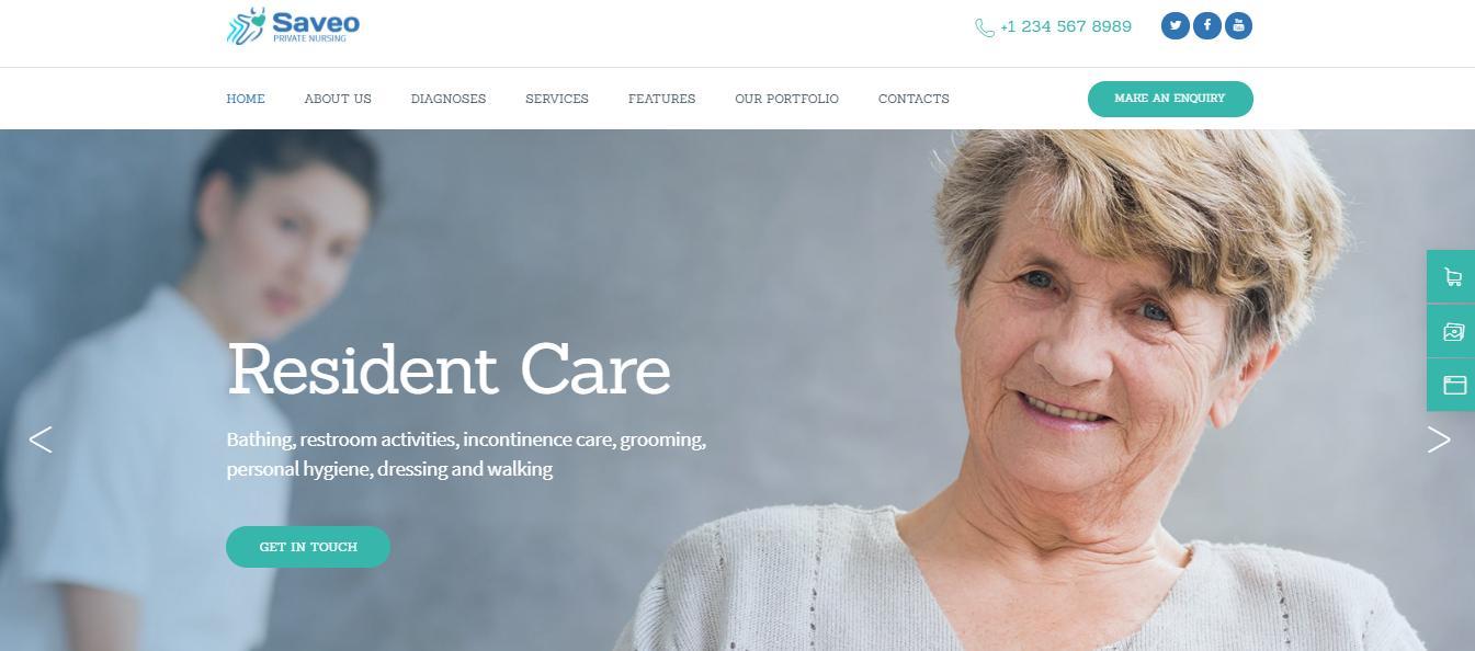 4. Saveo wordpress theme for elderly care