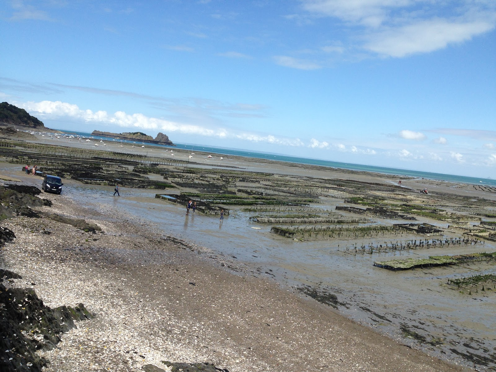 cancale france shoreside oyster farm by the ocean. Locals working on farm, parked minivan and ocean in the distance on a sunny day.