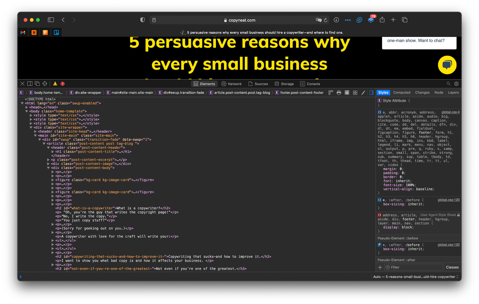 A screenshot of my website and its HTML code displayed in the developer tools to visualize the title tags.