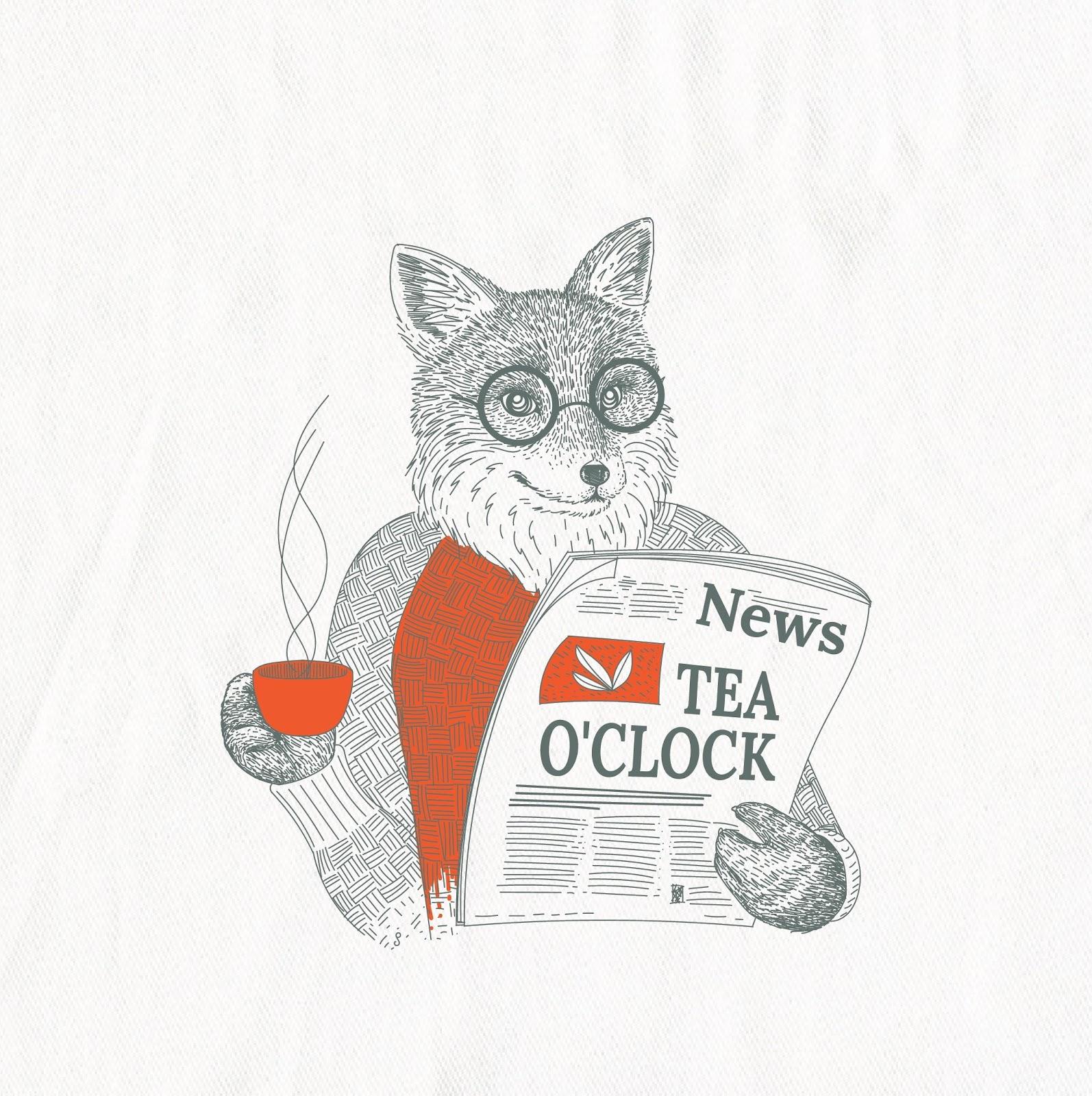 Fox reading newspaper and drinking tea