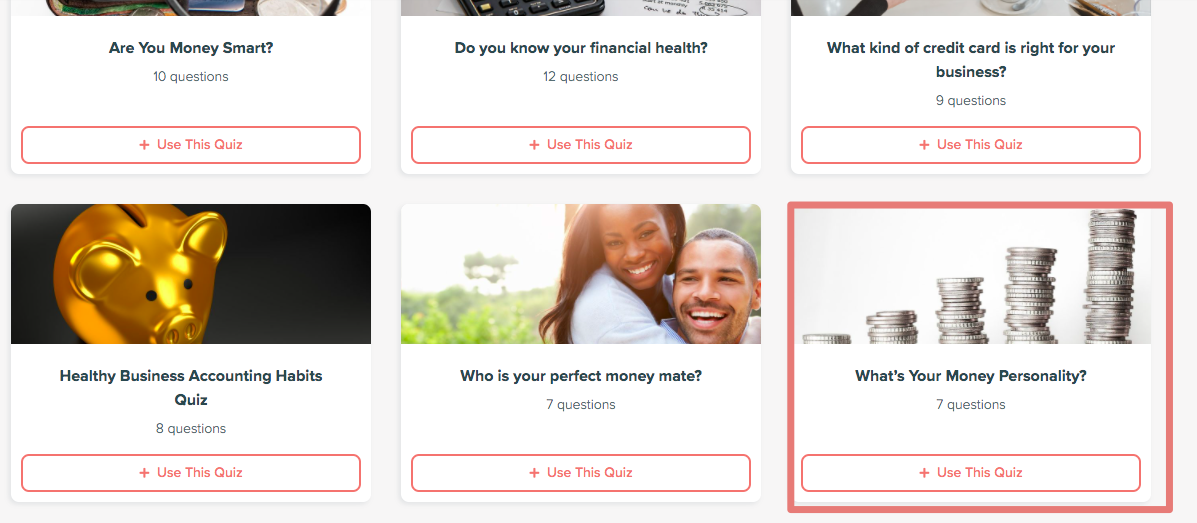 money personality quiz templates with What's your money personality selected