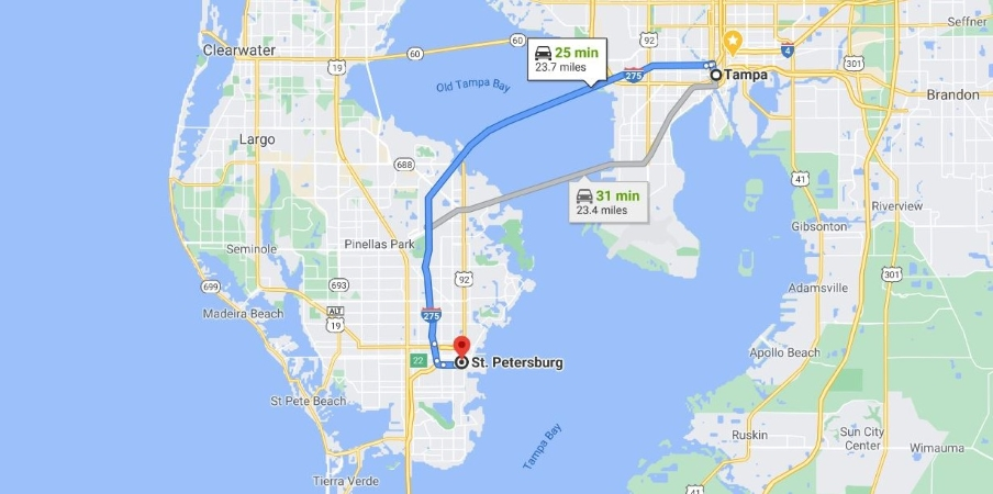 Map of St. Petersburg and Tampa Bay in Florida