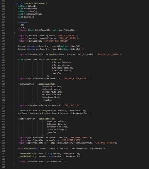 Balancer Codeblock: swapExactAmountOut function