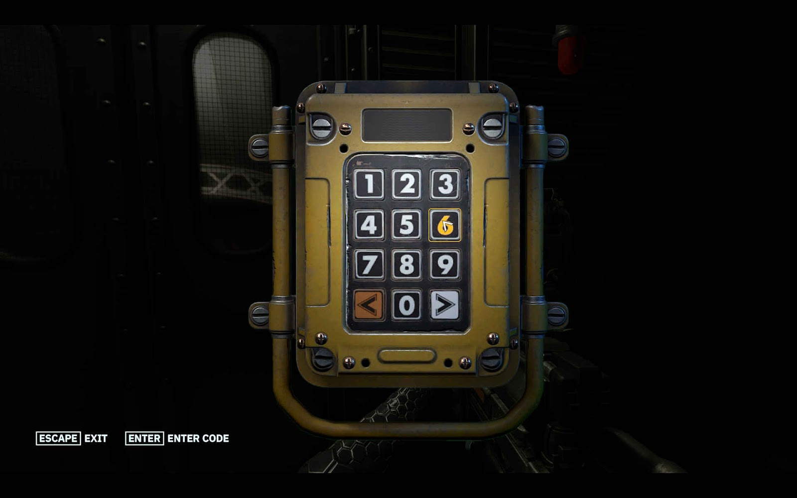 A numerical lock pad awaiting the right code with Escape and Enter buttons at the bottom