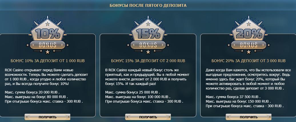 Бонусы в рокс казино